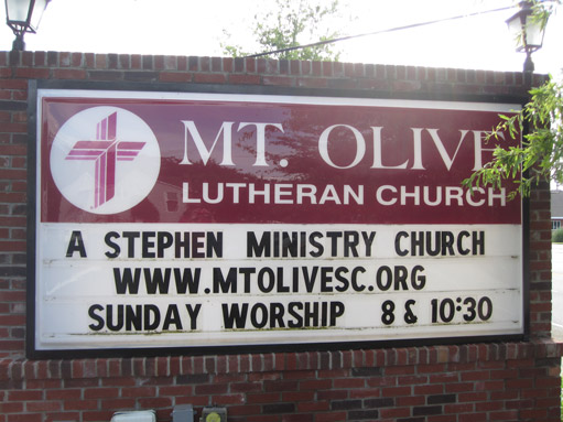Photo of Mt Olive Church sign: A Stephen Ministry Church